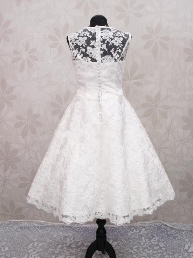 904523161473 retro rockabilly krajkové krátké svatební šaty bílé 50´s - plesové ...